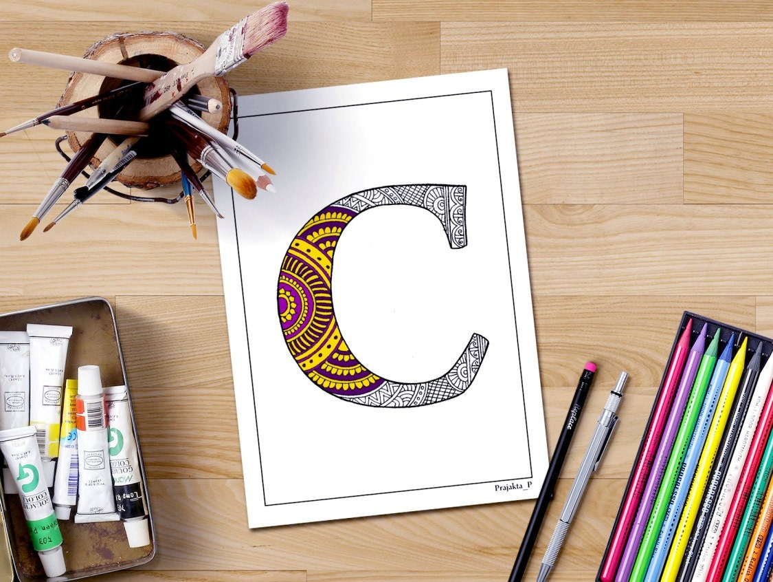 Letter C Coloring Page Personalized Coloring Page Letter