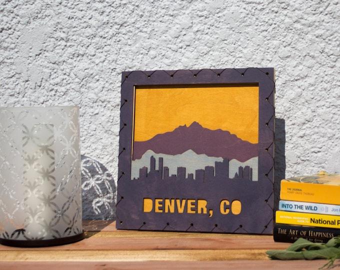 Large: Denver Skyline Wood Decor