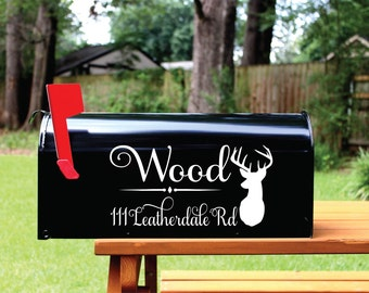 Mailbox Decal Set of 2- Custom Vinyl Deer Head Hunting Mail Box Address Numbers Decals Home Address