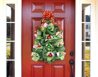 Large Christmas Tree Wreath, Deco Mesh Christmas Wreath, Whimsical Tree Door Hanger, Christmas Front Door Wreaths, Mother's day Gift