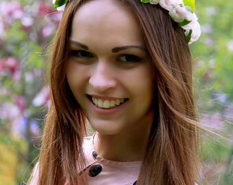 Wedding hair crown, cold porcelain hydrangea floral jewelry, pink flowers headband, wreath with pink and white flowers