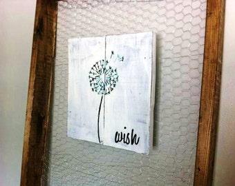Wish dandelion Wood Wall Art