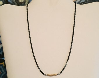 Gold Beads with Black Chain