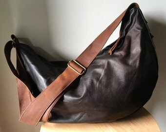 Slouch, hobo soft leather shoulder bag. Cross body with wide strap, cotton lined. Leather handbag tote bag, excellent travel or computer bag