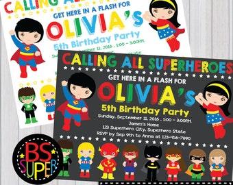 SUPERHERO Invitation, Superhero Birthday Party invitation, Superhero Party
