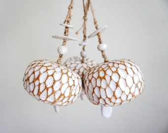 Made to Order | Tree Bark white bell, chime handmade by MUD TO LIFE