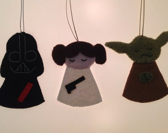 Star Wars Christmas tree Decorations Ornaments - Set of three