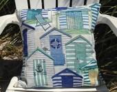"Beach House Pillow Cover 18"" x 18"", Beach House Pillow, Beach Decor, Beach Throw Pillows, Blue Pillow Cover, Beach Houses, Ocean Decor"