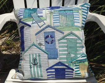 "Beach House Pillow Cover 18"" x 18"", Beach House Pillow, Beach Decor, Beach Throw Pillows, Blue Pillow Cover, Beach Houses, Ocean Decor"
