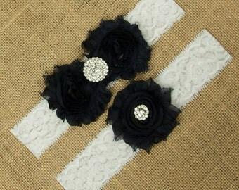 Navy Wedding Garter, Dark Navy Bridal Garter, Navy Garter Belt, Dark Navy Wedding Garter, Wedding Garter, Garter Belt, Garter Set, SCWS-B10