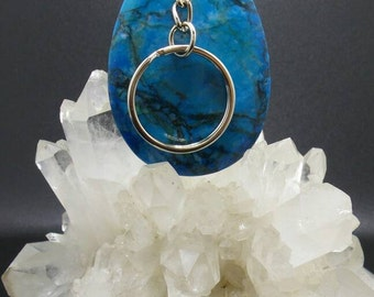 Blue Sea Sediment Jasper Teardrop Pendant Key Chain.