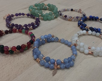 Bracelet stones semi precious and copper metal, 7 models to choose from.