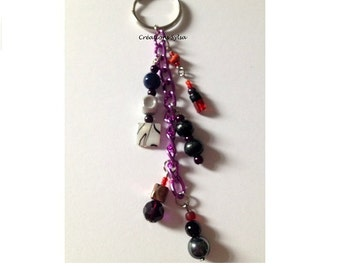 Red, grey and black key ring, Purple chain key ring, Professor gift, Gift under 10, Graduate gift, Thanks gift, Ado gift (PC733-8)