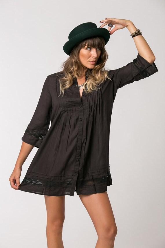 short black dress bohemian dress button up dress loose fit. Black Bedroom Furniture Sets. Home Design Ideas
