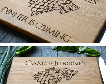 Game of Thrones Cutting Board Stark Family Dinner is coming Custom Engraved Wooden Kitchen Man Gift for Cook Father Chef Boyfriend