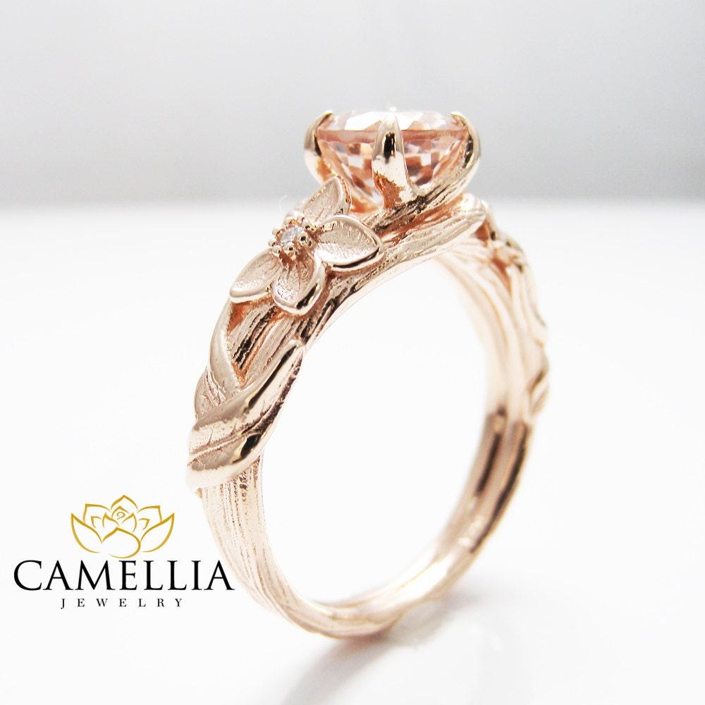Nature Inspired Rose Gold Engagement Ring Branch Ring 14k Rose
