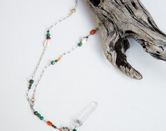 Silver Turquoise Lariat Necklace, Silver Lariat with Quartz Pendant and Turquoise, Crystal Pendant Necklace, Long Necklace, crystal necklace