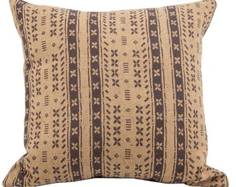 Brown Striped Wool Pillow Cover - 22 x 22