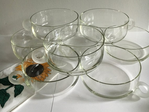 Vintage 8 Clear Glass Soup Bowls With Frosted Handle Large