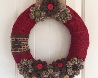 Rustic Wreath, Woodsy Wreath, Home Decor, Shabby Chic Wreath, Shabby Chic Decor, Rustic Home Decor