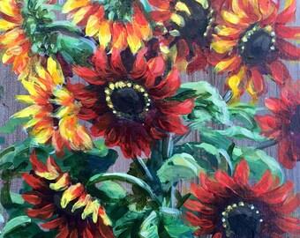 Red Sunflowers Original Acrylic Painting/Cheerful Kitchen Art