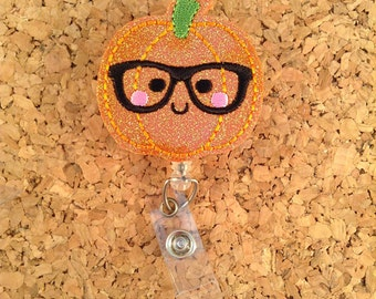 Glitter PUMPKIN NERD Badge Reel | Halloween Id Badge Reel | Vinyl Badge Reel | Retractable Name Holder |  Doctor Gift | GLITTER 938
