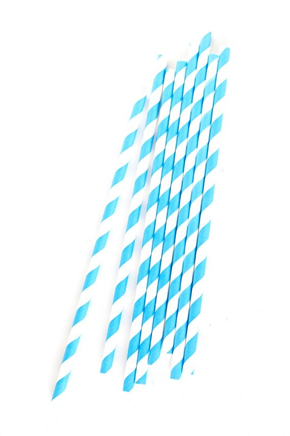 CLOSEOUT SALE Teal and White Diagonal Stripe Straws 15 Count