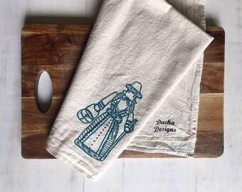 Flour Sack Towel (Unbleached) - Russian Dedushka (Grandfather) - Russian - Housewarming Gift - Hand Screen Printed