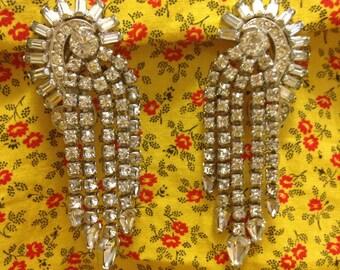 1950s Vintage Kramer of New York Clip On Rhinestone Earrings