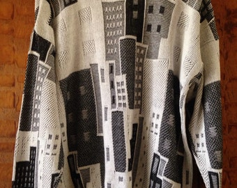 Vintage Oversized Geometric Monochrome Cityscape Sweater 80's/90's