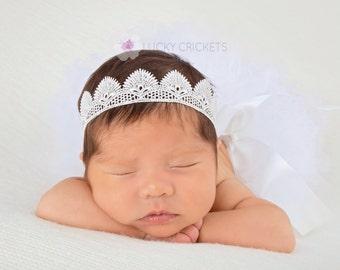 Baby Lace Crown, Newborn Lace Crown, Baby Tiara Headband, Newborn Princess Crown, Baby Princess Crown, Baby Crown Headband, Baby Crown