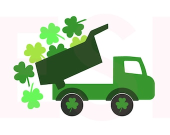 St Patricks Day svg, Truck with shamrock, SVG, DXF, EPS, cutting files, for use with Silhouette Cameo and Cricut Explore. Truck svg,