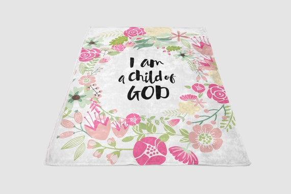 "Child of God - Floral Wreath Baby Blanket - ""Cashmere Feel"""