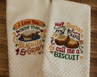 Embroidered kitchen towel, Kitchen towel, Waffle Towel, Handmade, Biscuits, Gravy, embroidered towel, funny kitchen towel