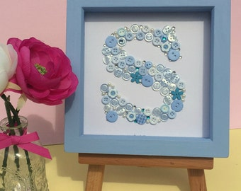 Personalised button initial artwork - framed button letter art - monogram - blue - nursery art