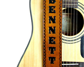 """Personalized Adjustable Handmade Tan Leather Guitar Strap- 2.5"""" Wide Hand Painted, For Acoustic or Electric Guitars"""