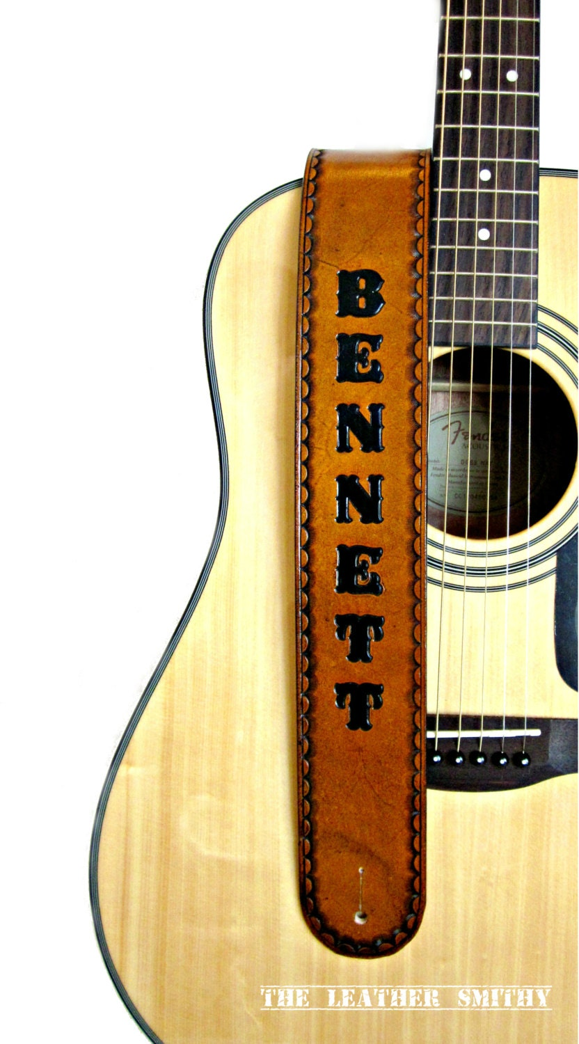 Personalized Adjustable Handmade Tan Leather Guitar Strap