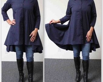 Boho, Country, Western all Cotton Designer Hi Lo Plus Size and Regular size shirt. XL, 1XL,2XL,3XL