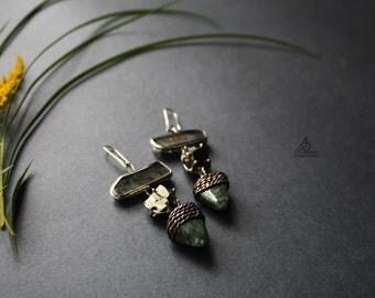 Free Shipping! Prehnite pyrite seraphinite earrings in tiffany technique copper errings tin stone earrings, Healing Stone long earrigs