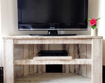 white rustic tv stand. handmade rustic corner table/tv stand with shelf. reclaimed and recycled wood - white tv t