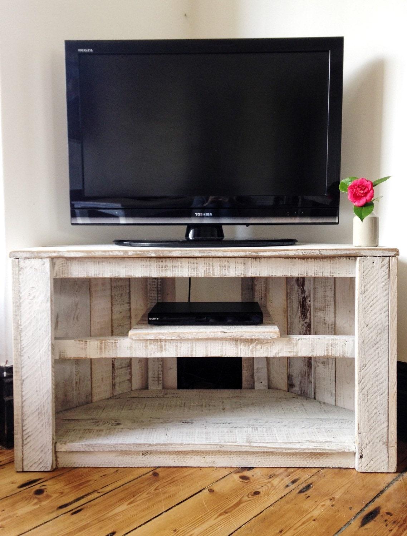 handmade rustic corner table tv stand with shelf reclaimed. Black Bedroom Furniture Sets. Home Design Ideas