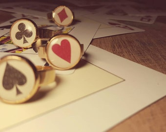 Playing card ring - French Cards Suits - Poker playing cards ring - Small ring