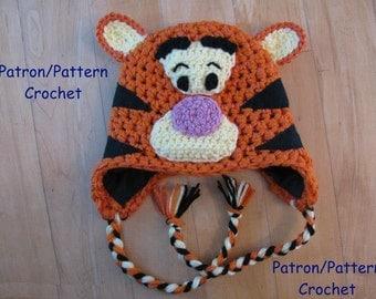 crochet PATTERN Tiger hat inspired by Tigger in Winnie the Pooh, earflap hat crochet pattern, animal hat tiger crochet pattern only