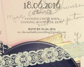 SAMPLE Retro Record Vintage Lace Wedding Invitations!