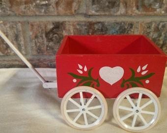 Little red wagon white heart metal wheels