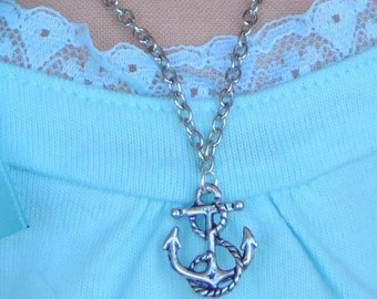 Silver Anchor Pendant Necklace for American Girl Dolls and other 18 inch dolls