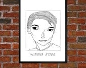 Badly Drawn Winona Ryder - Poster