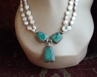 Sterling silver turquoise and freshwater pearl necklace