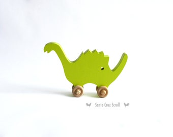 Speedy Spike-Dinosaur Push Toy-Wood Toy Animal-Kids Toy-Wooden Toy-Dinosaur-Kids Room Decor-Nursery Decor-Dinosaur Decor-Push Toy