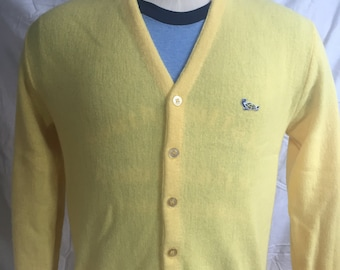Vintage Crown Sportswear Yellow Cardigan Sweater 60s